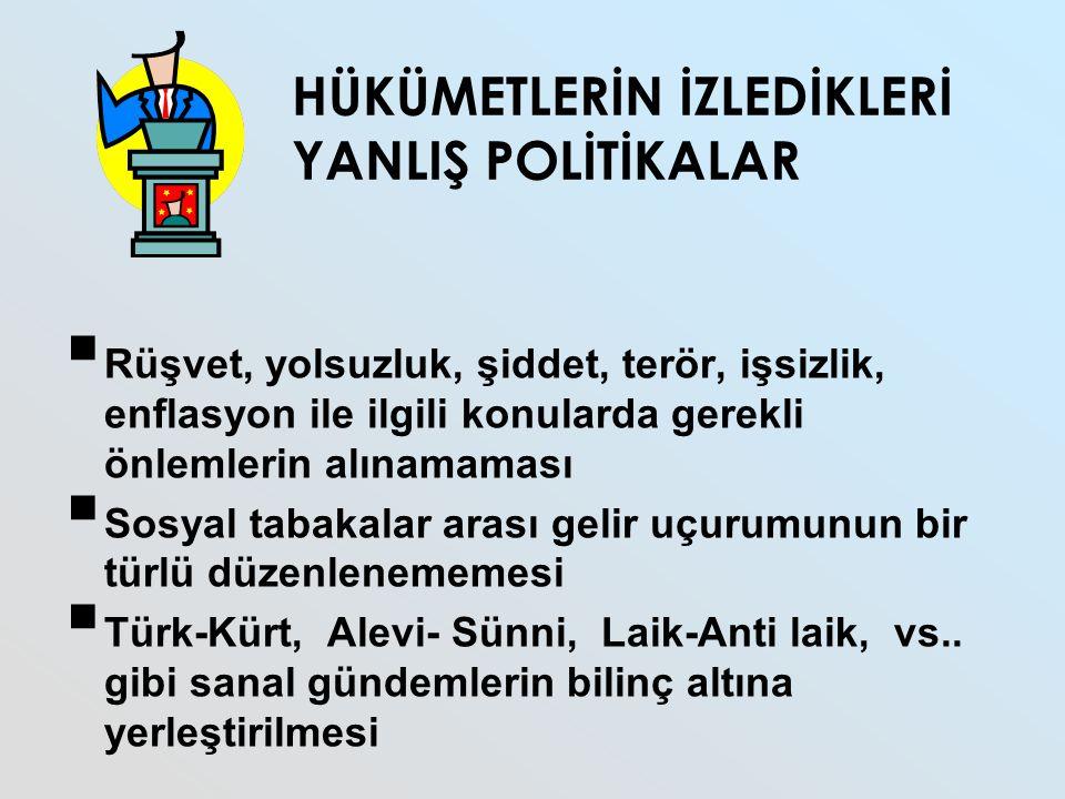 HÜKÜMETLERİN İZLEDİKLERİ YANLIŞ POLİTİKALAR  Rüşvet, yolsuzluk, şiddet, terör, işsizlik, enflasyon ile ilgili konularda gerekli önlemlerin alınamaması  Sosyal tabakalar arası gelir uçurumunun bir türlü düzenlenememesi  Türk-Kürt, Alevi- Sünni, Laik-Anti laik, vs..