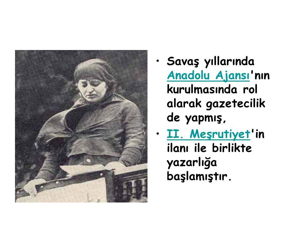 •Savaş yıllarında Anadolu Ajansı'nın kurulmasında rol alarak gazetecilik de yapmış, Anadolu Ajansı •II. Meşrutiyet'in ilanı ile birlikte yazarlığa baş