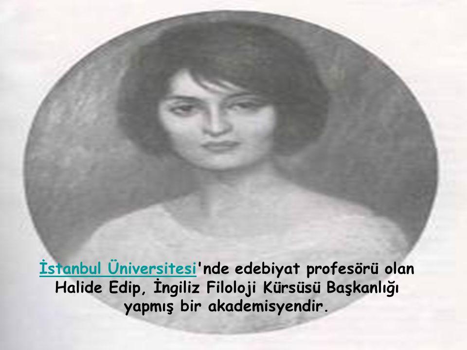 İstanbul Üniversitesiİstanbul Üniversitesi nde edebiyat profesörü olan Halide Edip, İngiliz Filoloji Kürsüsü Başkanlığı yapmış bir akademisyendir.