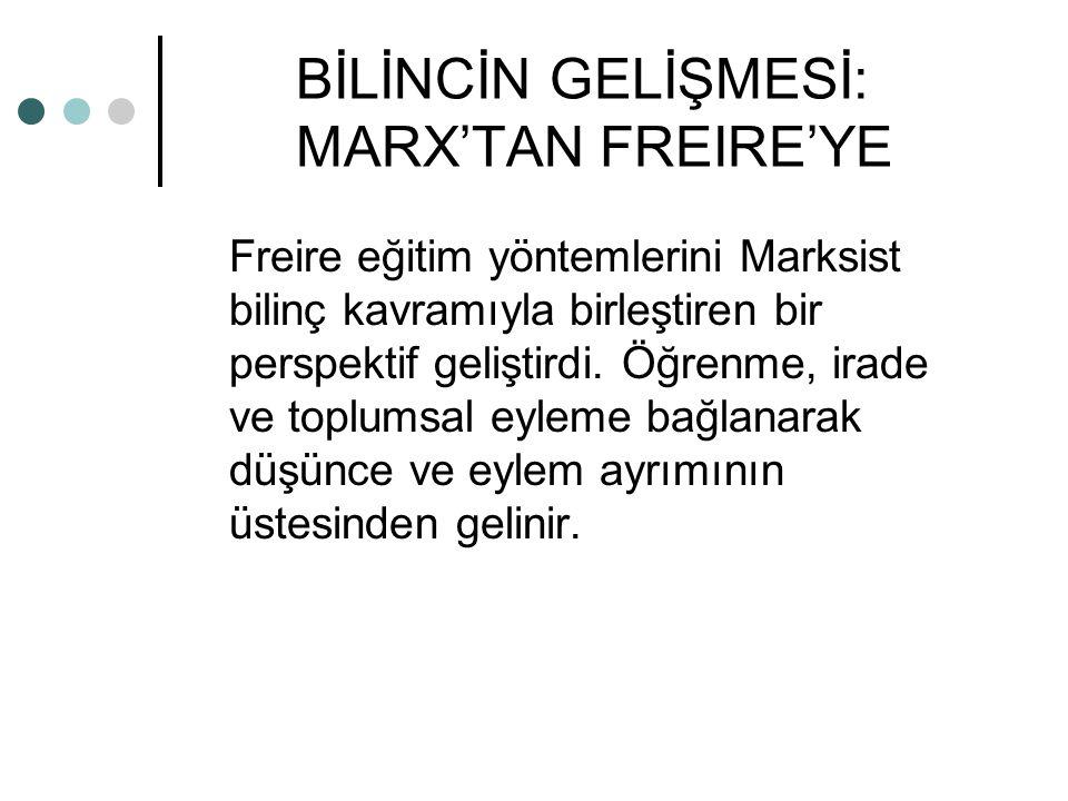 BİLİNCİN GELİŞMESİ: MARX'TAN FREIRE'YE Freire eğitim yöntemlerini Marksist bilinç kavramıyla birleştiren bir perspektif geliştirdi. Öğrenme, irade ve