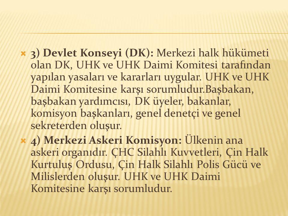  3) Devlet Konseyi (DK): Merkezi halk hükümeti olan DK, UHK ve UHK Daimi Komitesi tarafından yapılan yasaları ve kararları uygular. UHK ve UHK Daimi