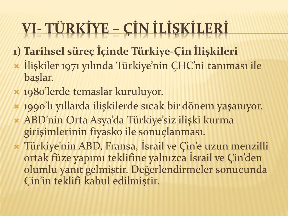 1) Tarihsel süreç İçinde Türkiye-Çin İlişkileri  İlişkiler 1971 yılında Türkiye'nin ÇHC'ni tanıması ile başlar.  1980'lerde temaslar kuruluyor.  19