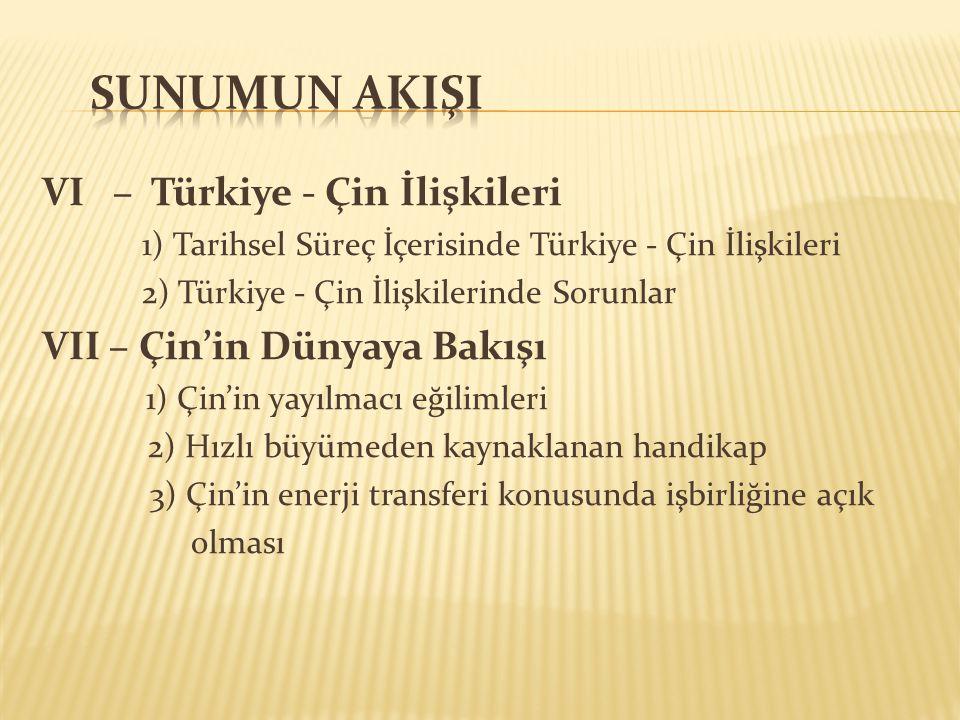 2) Türkiye-Çin İlişkilerinde Sorunlar * Doğu Türkistan (Sincan-Uygur Özerk Bölgesi) Panislamist /Pantürkist söylem ve Yeni Osmanlıcılık Bölgenin önemi: Turfan, Jungar ve Tarım Petrol yatakları Bölgenin 147 mineralin 115'ine sahip olması * BOP ve Çin'in çevreleme politikasından duyduğu rahatsızlık * Kıbrıs Meselesinde Çin'in tavrı