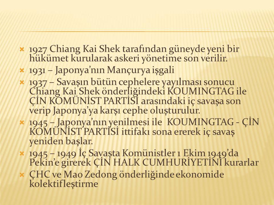  1927 Chiang Kai Shek tarafından güneyde yeni bir hükümet kurularak askeri yönetime son verilir.  1931 – Japonya'nın Mançurya işgali  1937 – Savaşı
