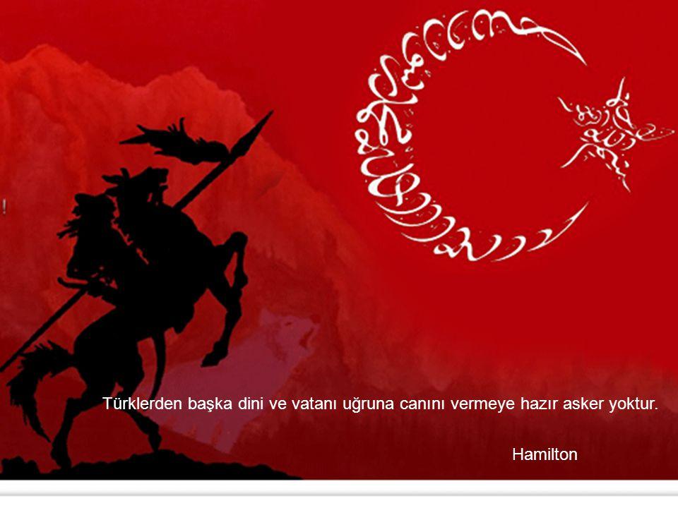 Türklerden başka dini ve vatanı uğruna canını vermeye hazır asker yoktur. Hamilton