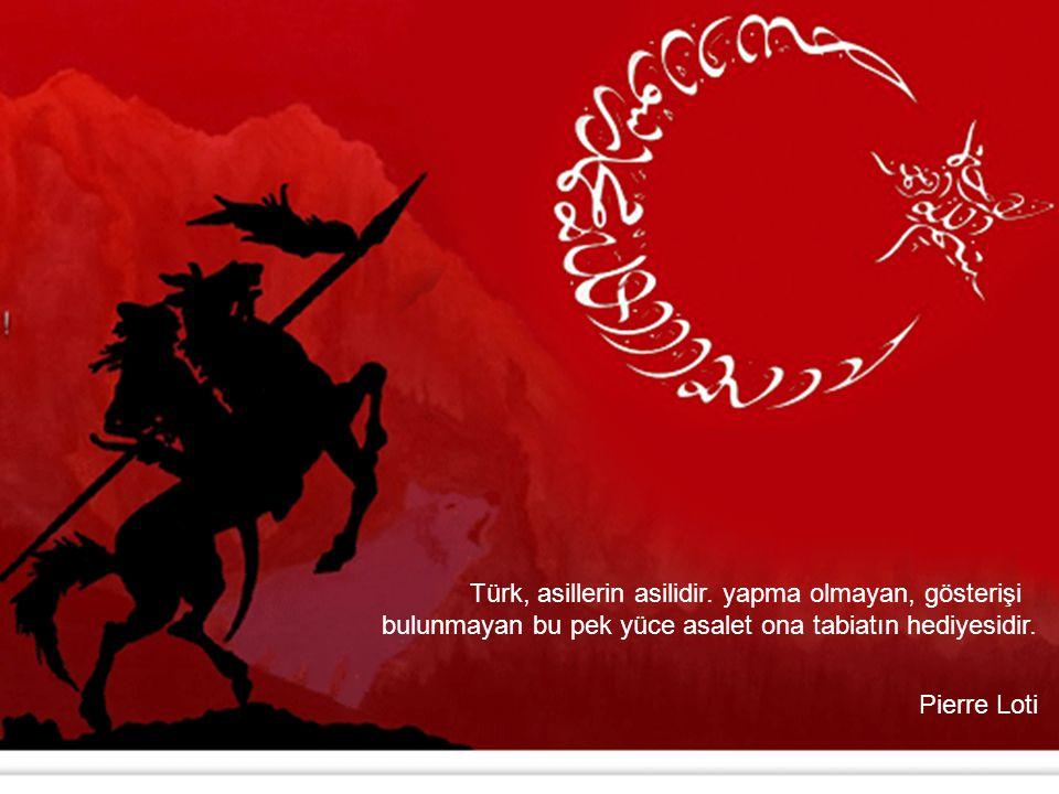 Türk, asillerin asilidir. yapma olmayan, gösterişi bulunmayan bu pek yüce asalet ona tabiatın hediyesidir. Pierre Loti