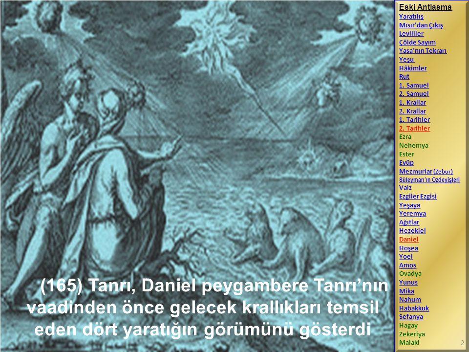 Melek Cebrail, Daniel'e Büyük İskender komutasındaki Grekler'in Persliler'i yeneceğini öngören bir görüm açıkladı Eski Antlaşma Yaratılış Mısır'dan Çıkış Levililer Çölde Sayım Yasa'nın Tekrarı Yeşu Hâkimler Rut 1.