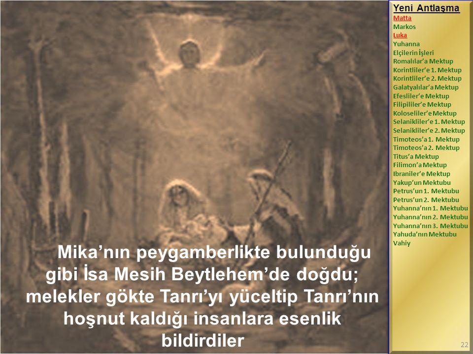 Mika'nın peygamberlikte bulunduğu gibi İsa Mesih Beytlehem'de doğdu; melekler gökte Tanrı'yı yüceltip Tanrı'nın hoşnut kaldığı insanlara esenlik bildi