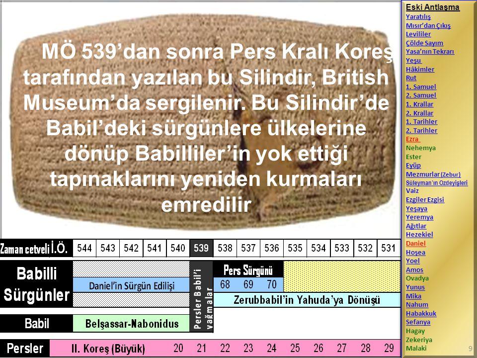 MÖ 539'dan sonra Pers Kralı Koreş tarafından yazılan bu Silindir, British Museum'da sergilenir. Bu Silindir'de Babil'deki sürgünlere ülkelerine dönüp