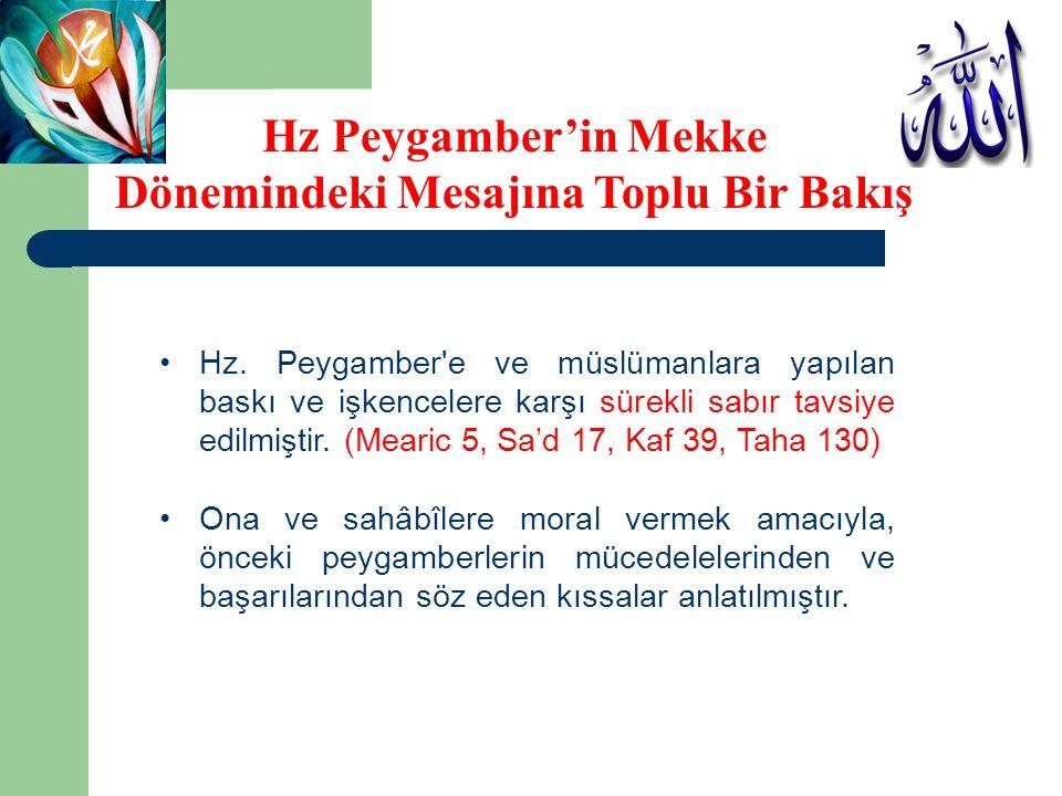 •Hz. Peygamber'e ve müslümanlara yapılan baskı ve işkencelere karşı sürekli sabır tavsiye edilmiştir. (Mearic 5, Sa'd 17, Kaf 39, Taha 130) •Ona ve sa