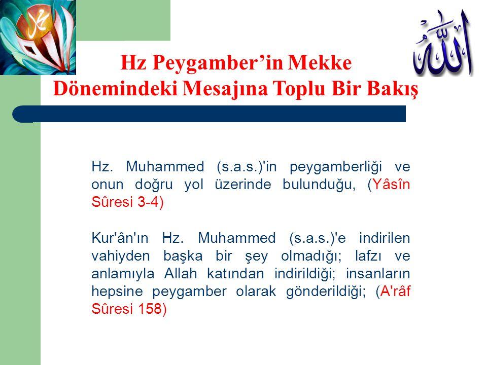 Hz. Muhammed (s.a.s.)'in peygamberliği ve onun doğru yol üzerinde bulunduğu, (Yâsîn Sûresi 3-4) Kur'ân'ın Hz. Muhammed (s.a.s.)'e indirilen vahiyden b
