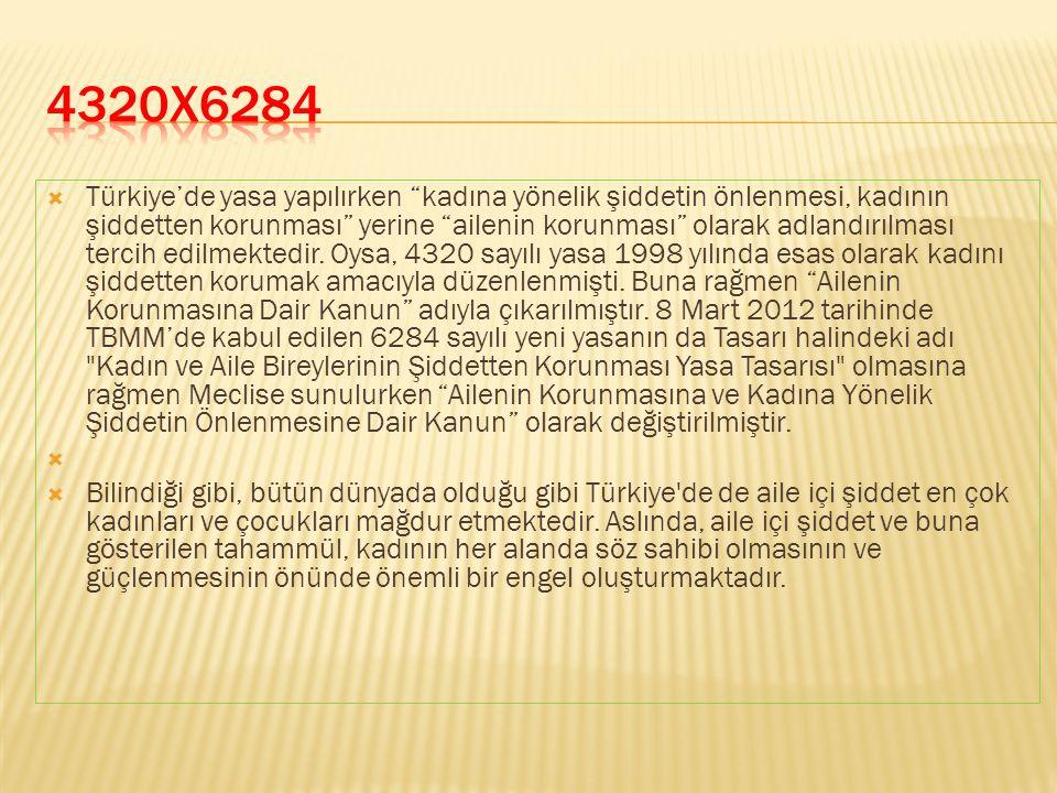  Türkiye'de yasa yapılırken kadına yönelik şiddetin önlenmesi, kadının şiddetten korunması yerine ailenin korunması olarak adlandırılması tercih edilmektedir.