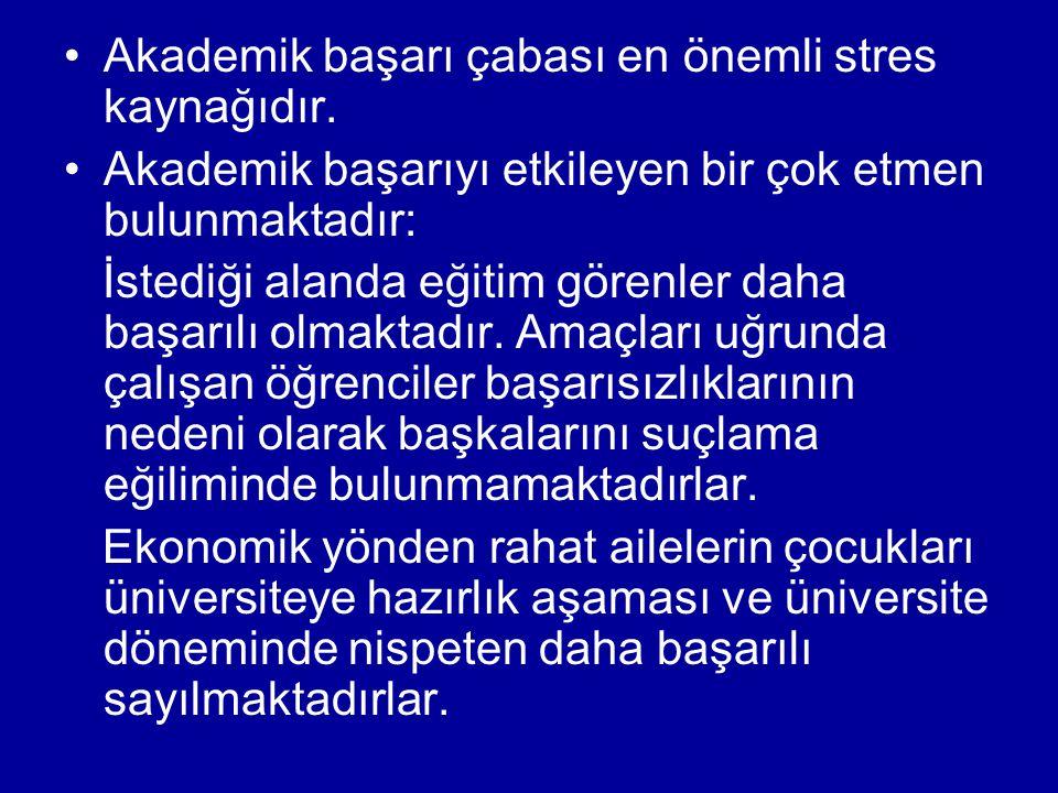 •Akademik başarı çabası en önemli stres kaynağıdır. •Akademik başarıyı etkileyen bir çok etmen bulunmaktadır: İstediği alanda eğitim görenler daha baş