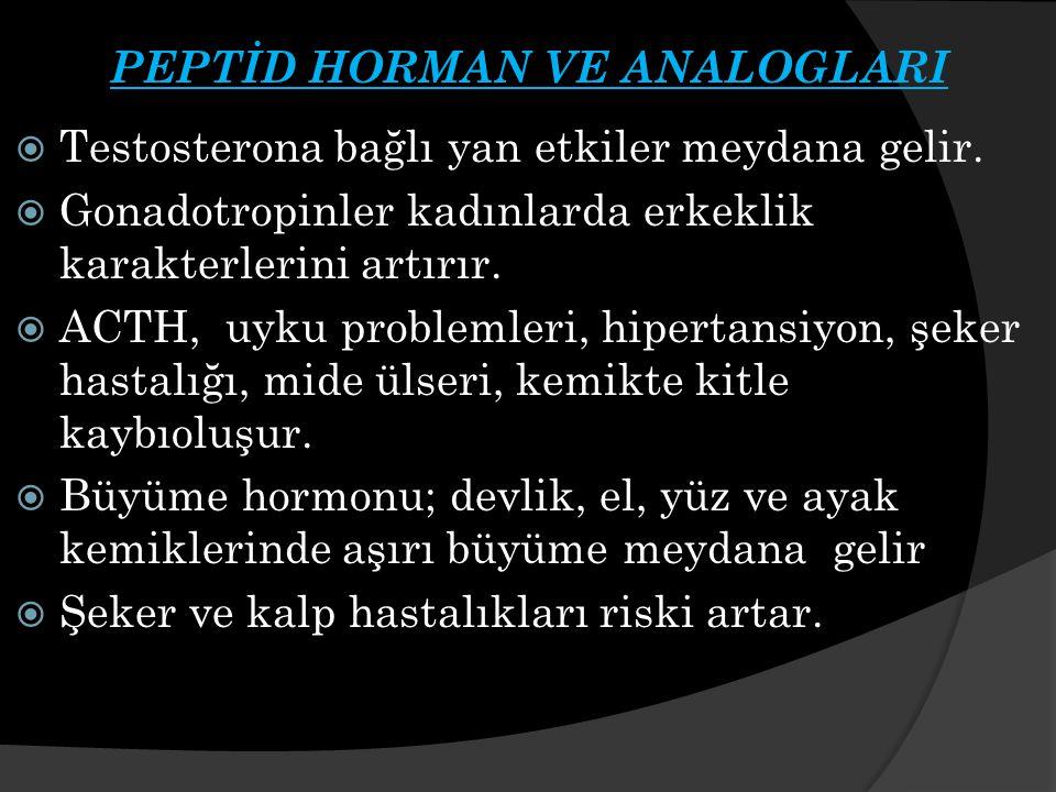 PEPTİD HORMAN VE ANALOGLARI  Testosterona bağlı yan etkiler meydana gelir.