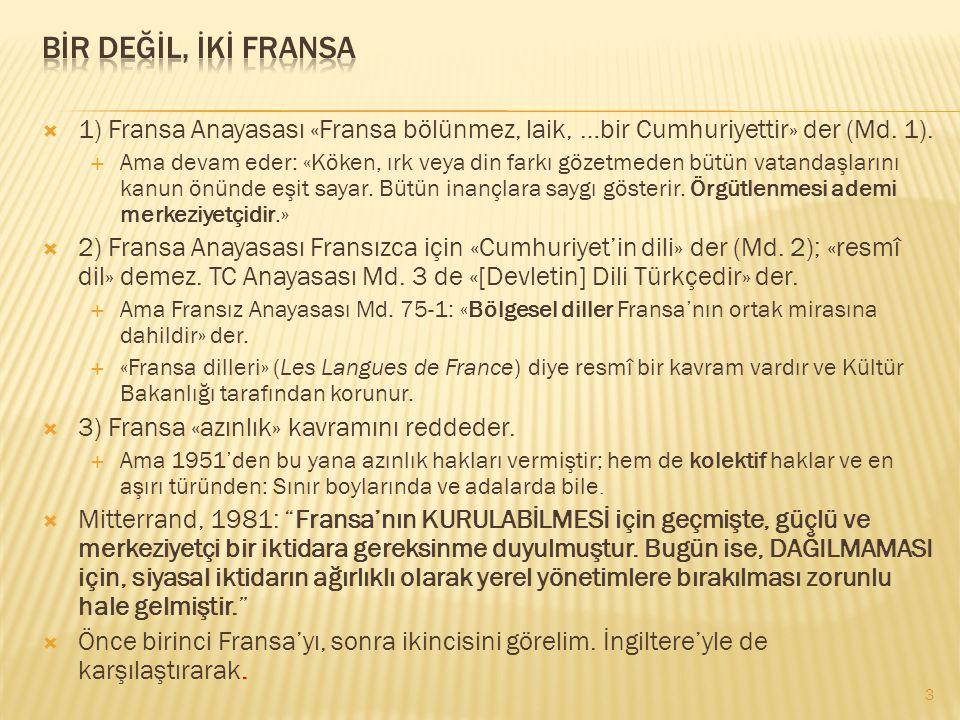  1) Fransa Anayasası «Fransa bölünmez, laik, …bir Cumhuriyettir» der (Md. 1).  Ama devam eder: «Köken, ırk veya din farkı gözetmeden bütün vatandaşl