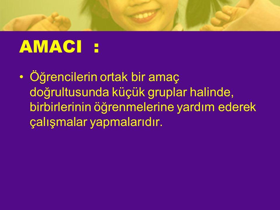 AMACI : •Öğrencilerin ortak bir amaç doğrultusunda küçük gruplar halinde, birbirlerinin öğrenmelerine yardım ederek çalışmalar yapmalarıdır.