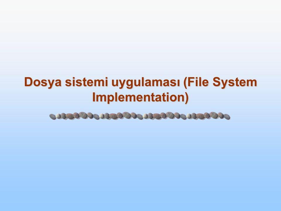 11.2 Silberschatz, Galvin and Gagne ©2005 Operating System Concepts Dosya Sistemi Uygulamasıentation  Dosya sistemi yapısı  Dosya sistemi uygulaması  Dizin uygulaması  Tahsis metotları  Boş alan yönetimi  Performans ve verim  Kurtarma(Recovery)  Log-Yapılandırılmış Dosya Sistemleri(Log-Structured File Systems)  Ağa Dosya Sistemi (Network File System-NFS)  Dosya sistemi örnekleri