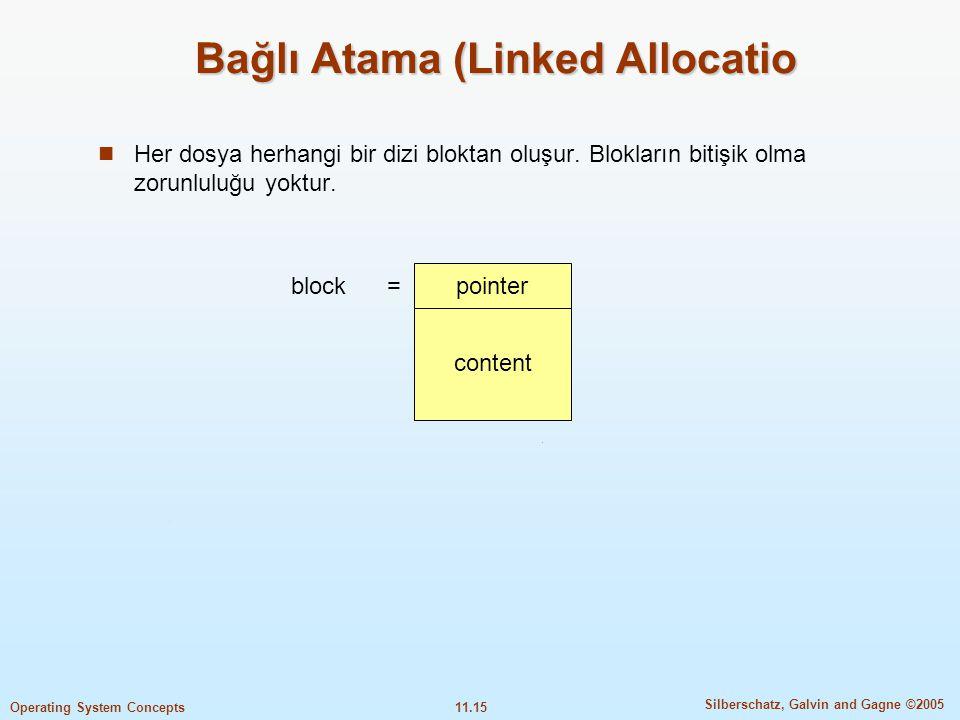 11.15 Silberschatz, Galvin and Gagne ©2005 Operating System Concepts Bağlı Atama (Linked Allocatio  Her dosya herhangi bir dizi bloktan oluşur. Blokl