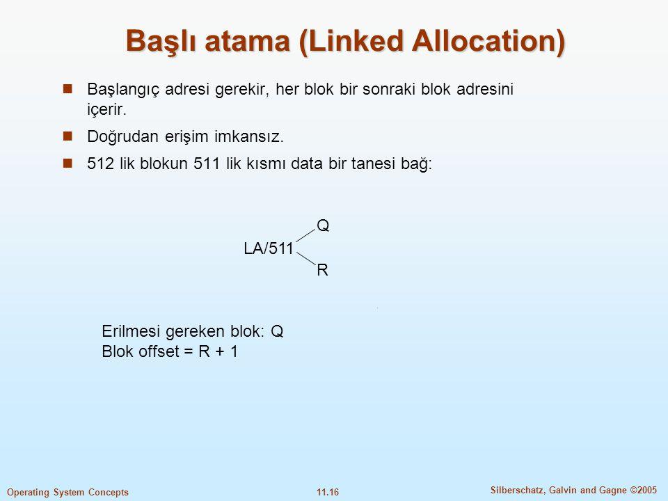 11.16 Silberschatz, Galvin and Gagne ©2005 Operating System Concepts Başlı atama (Linked Allocation)  Başlangıç adresi gerekir, her blok bir sonraki