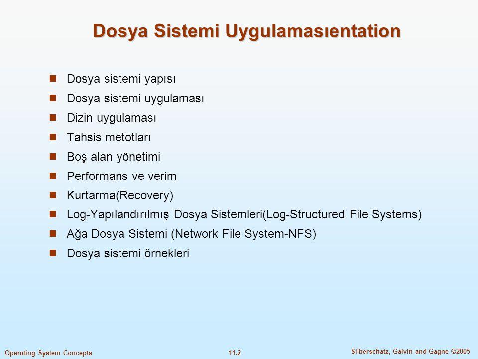 11.3 Silberschatz, Galvin and Gagne ©2005 Operating System Concepts Amaç  Yerel dosya sistem, ve dizin yapısının uygulama detaylarının tanımlanması  Uzak dosya sistemi uygulamaların tanımlanması  Boş blok tahsisi ve algoritmalarının tartışılması