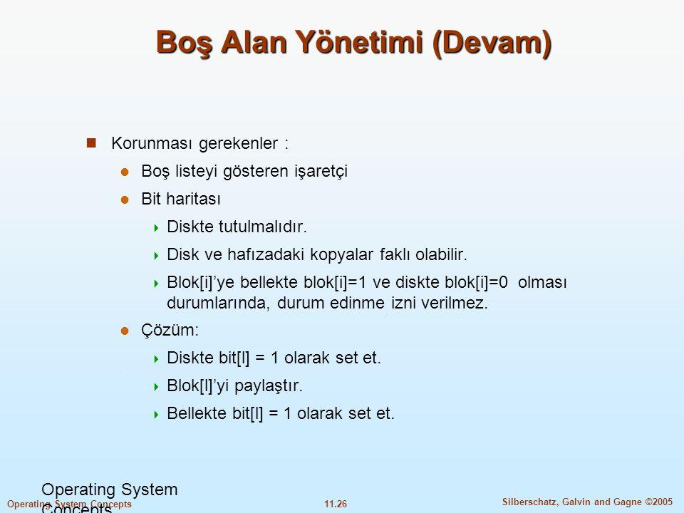 11.26 Silberschatz, Galvin and Gagne ©2005 Operating System Concepts Boş Alan Yönetimi (Devam)  Korunması gerekenler :  Boş listeyi gösteren işaretç