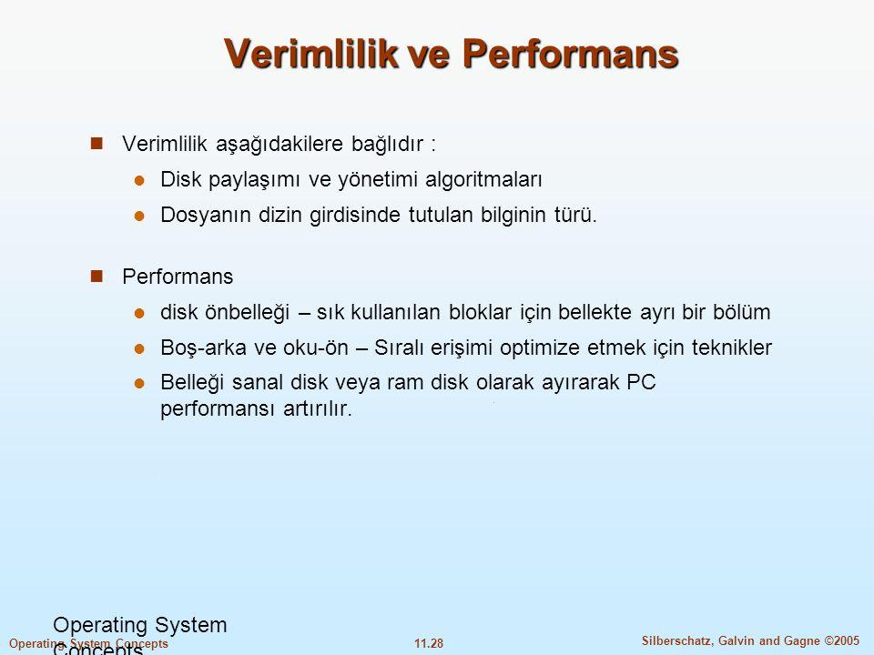 11.28 Silberschatz, Galvin and Gagne ©2005 Operating System Concepts Verimlilik ve Performans  Verimlilik aşağıdakilere bağlıdır :  Disk paylaşımı v