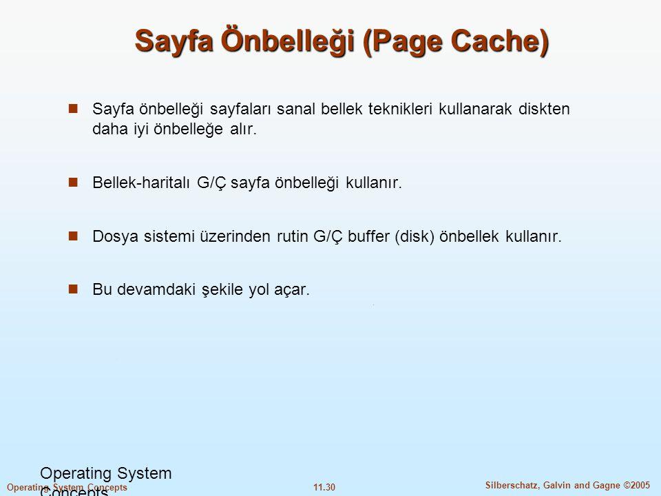 11.30 Silberschatz, Galvin and Gagne ©2005 Operating System Concepts Sayfa Önbelleği (Page Cache)  Sayfa önbelleği sayfaları sanal bellek teknikleri