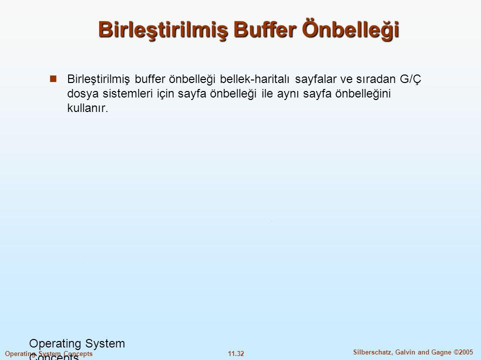 11.32 Silberschatz, Galvin and Gagne ©2005 Operating System Concepts Birleştirilmiş Buffer Önbelleği  Birleştirilmiş buffer önbelleği bellek-haritalı