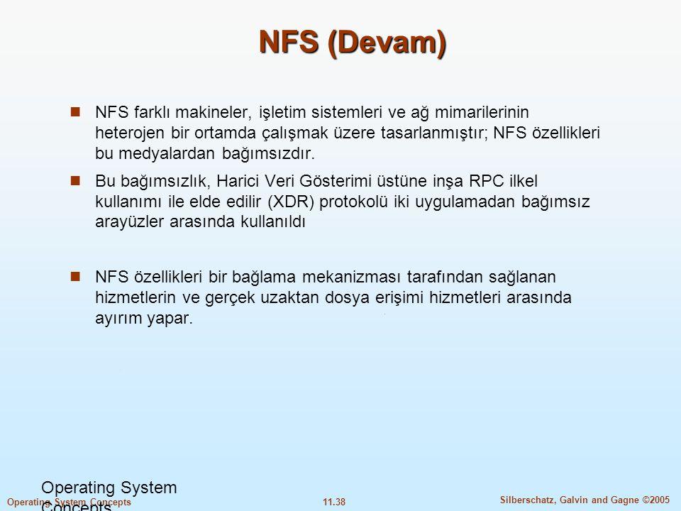 11.38 Silberschatz, Galvin and Gagne ©2005 Operating System Concepts NFS (Devam)  NFS farklı makineler, işletim sistemleri ve ağ mimarilerinin hetero