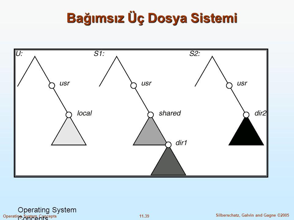 11.39 Silberschatz, Galvin and Gagne ©2005 Operating System Concepts Bağımsız Üç Dosya Sistemi