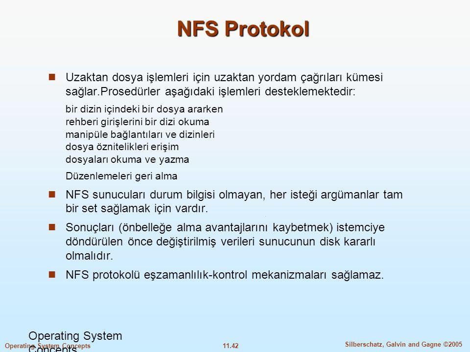 11.42 Silberschatz, Galvin and Gagne ©2005 Operating System Concepts NFS Protokol  Uzaktan dosya işlemleri için uzaktan yordam çağrıları kümesi sağla
