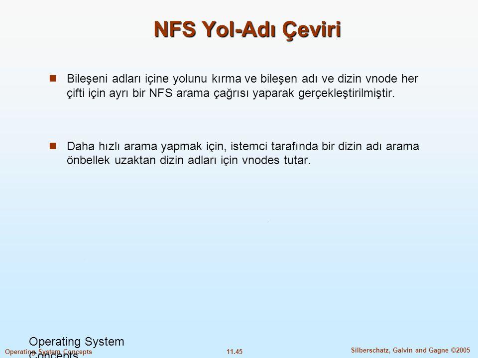 11.45 Silberschatz, Galvin and Gagne ©2005 Operating System Concepts NFS Yol-Adı Çeviri  Bileşeni adları içine yolunu kırma ve bileşen adı ve dizin v
