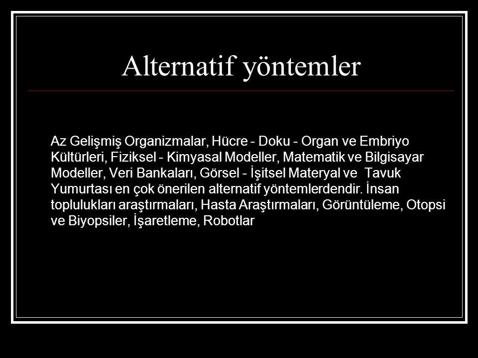 Alternatif yöntemler Az Gelişmiş Organizmalar, Hücre - Doku - Organ ve Embriyo Kültürleri, Fiziksel - Kimyasal Modeller, Matematik ve Bilgisayar Model