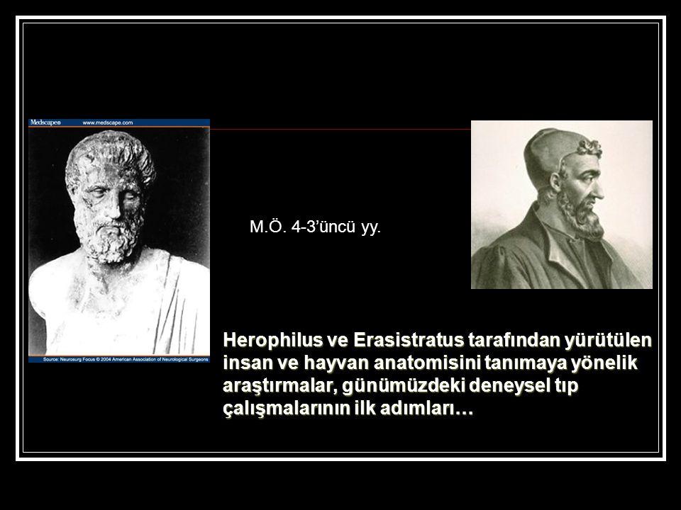 Herophilus ve Erasistratus tarafından yürütülen insan ve hayvan anatomisini tanımaya yönelik araştırmalar, günümüzdeki deneysel tıp çalışmalarının ilk