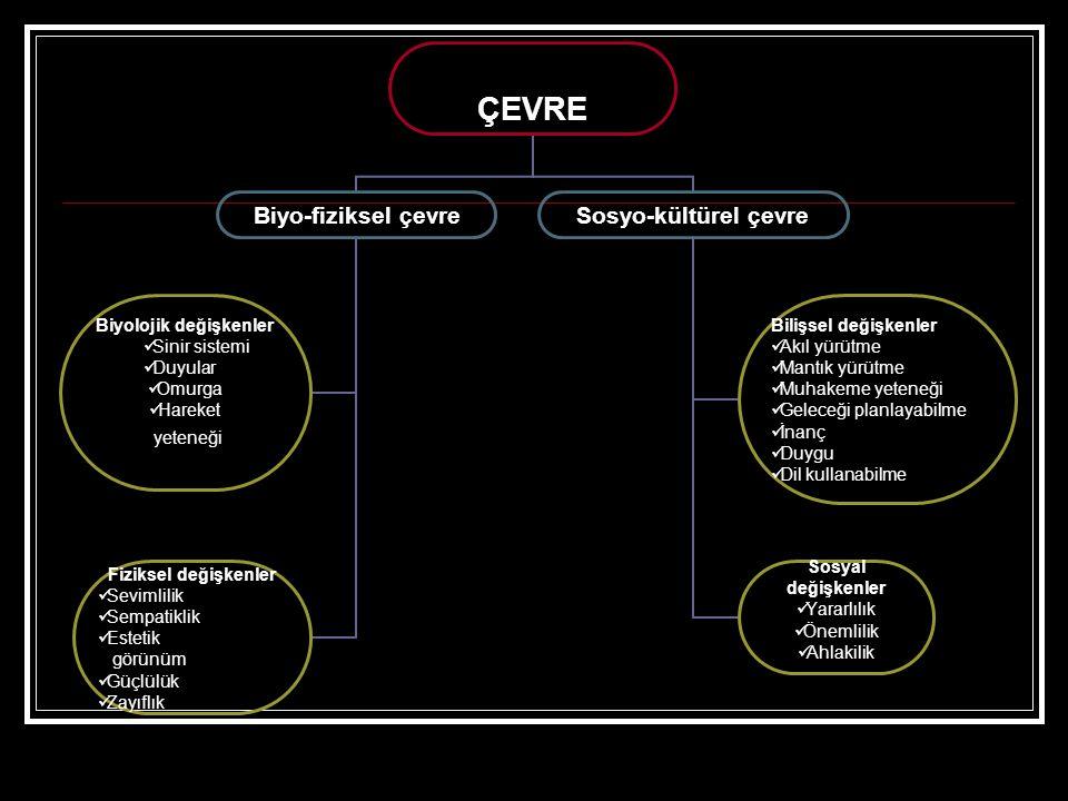 ÇEVRE Biyo-fiziksel çevre Biyolojik değişkenler •Sinir sistemi •Duyular •Omurga •Hareket yeteneği Fiziksel değişkenler •Sevimlilik •Sempatiklik •Estet