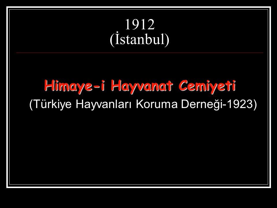 1912 (İstanbul) Himaye-i Hayvanat Cemiyeti (Türkiye Hayvanları Koruma Derneği-1923)
