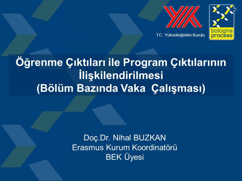 T.C. Yükseköğretim Kurulu Öğrenme Çıktıları ile Program Çıktılarının İlişkilendirilmesi (Bölüm Bazında Vaka Çalışması) Doç.Dr. Nihal BUZKAN Erasmus Ku