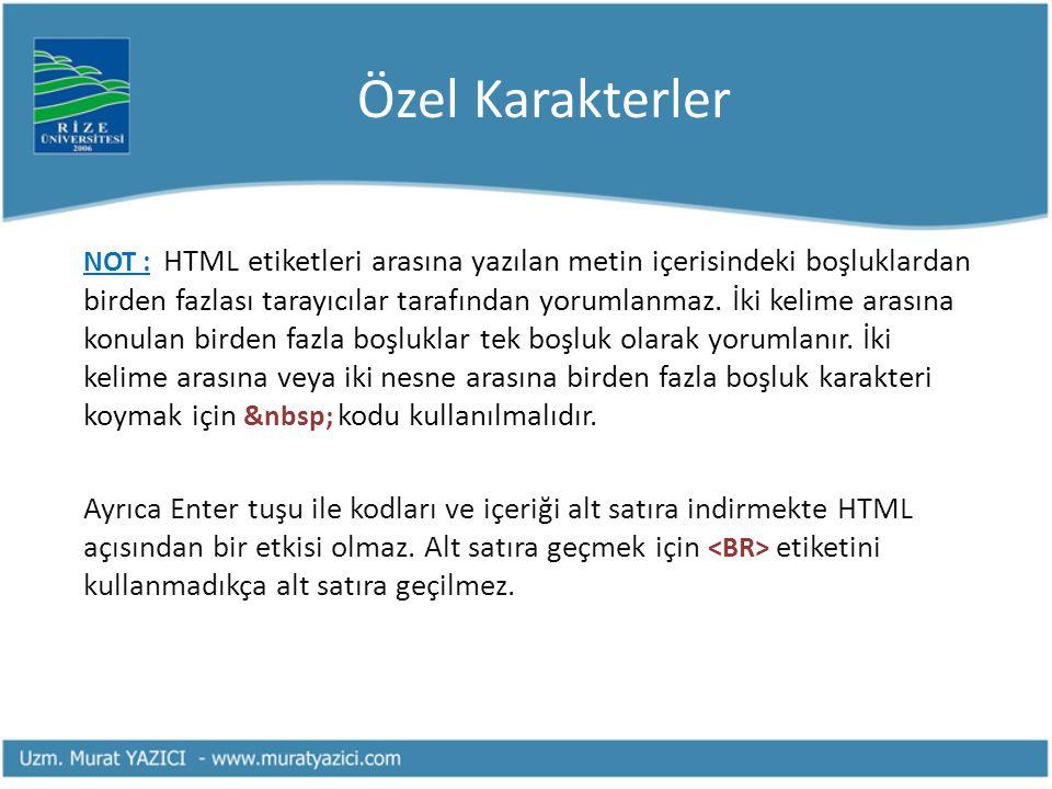Özel Karakterler NOT : HTML etiketleri arasına yazılan metin içerisindeki boşluklardan birden fazlası tarayıcılar tarafından yorumlanmaz. İki kelime a
