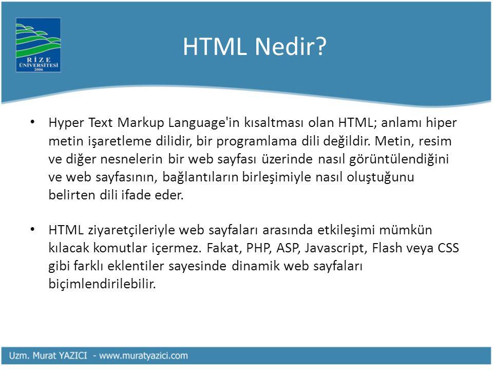 HTML Nedir? • Hyper Text Markup Language'in kısaltması olan HTML; anlamı hiper metin işaretleme dilidir, bir programlama dili değildir. Metin, resim v