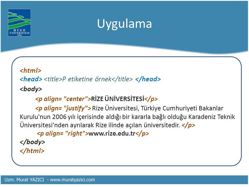 Uygulama P etiketine örnek RİZE ÜNİVERSİTESİ Rize Üniversitesi, Türkiye Cumhuriyeti Bakanlar Kurulu'nun 2006 yılı içerisinde aldığı bir kararla bağlı