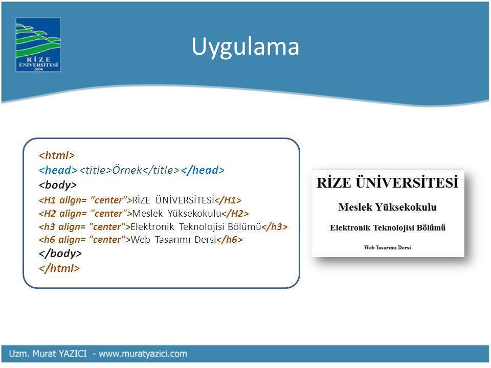 Uygulama Örnek RİZE ÜNİVERSİTESİ Meslek Yüksekokulu Elektronik Teknolojisi Bölümü Web Tasarımı Dersi