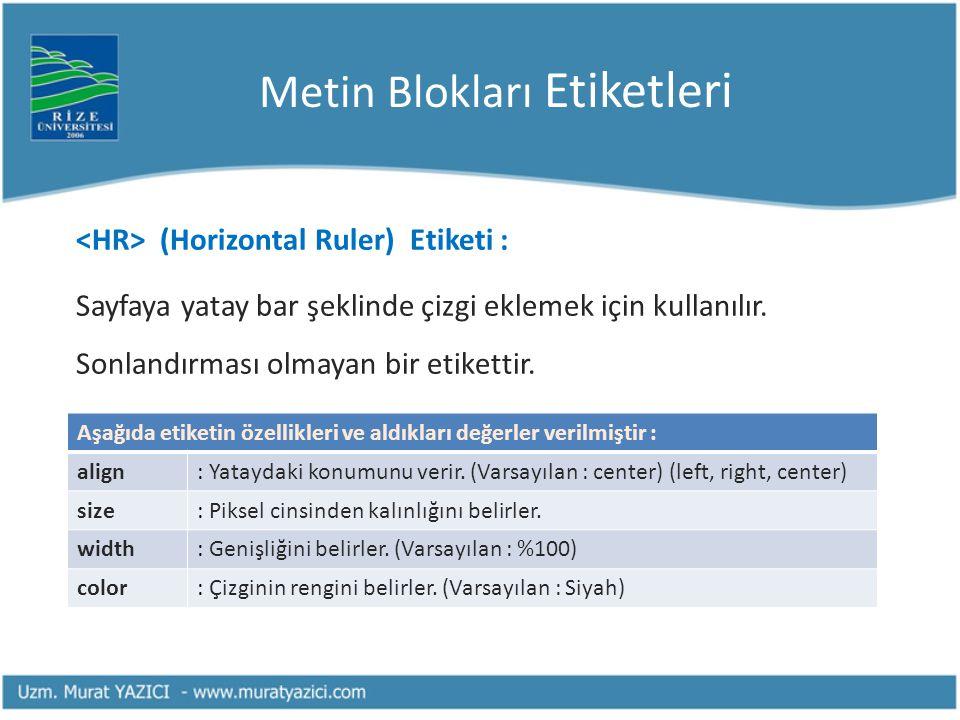 Metin Blokları Etiketleri (Horizontal Ruler) Etiketi : Sayfaya yatay bar şeklinde çizgi eklemek için kullanılır. Sonlandırması olmayan bir etikettir.