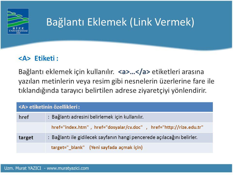Bağlantı Eklemek (Link Vermek) Etiketi : Bağlantı eklemek için kullanılır. … etiketleri arasına yazılan metinlerin veya resim gibi nesnelerin üzerleri