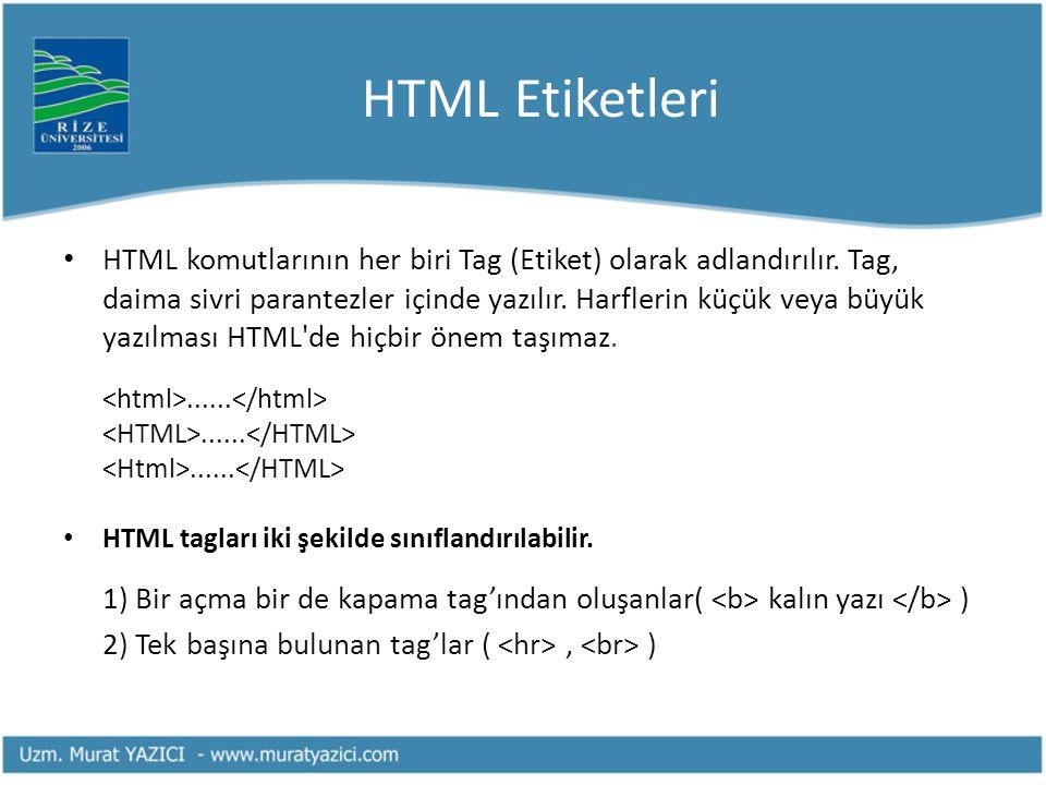 HTML Etiketleri • HTML komutlarının her biri Tag (Etiket) olarak adlandırılır. Tag, daima sivri parantezler içinde yazılır. Harflerin küçük veya büyük