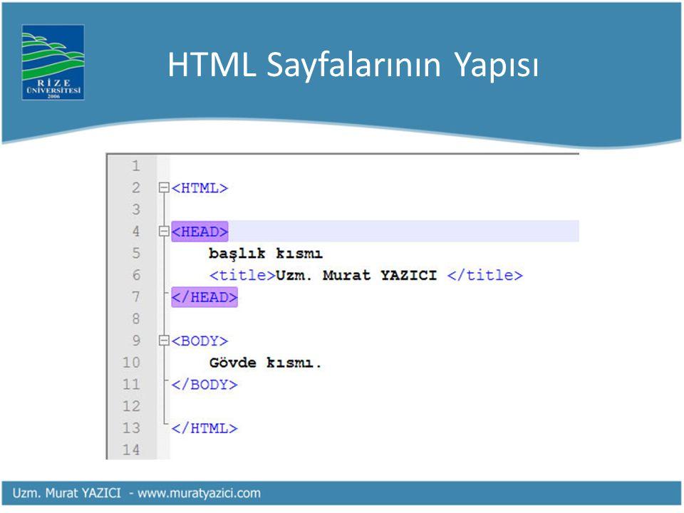 HTML Sayfalarının Yapısı