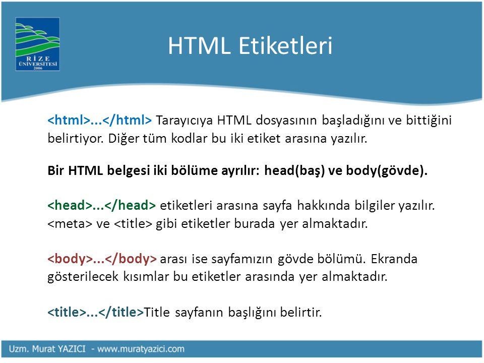 HTML Etiketleri... Tarayıcıya HTML dosyasının başladığını ve bittiğini belirtiyor. Diğer tüm kodlar bu iki etiket arasına yazılır. Bir HTML belgesi ik