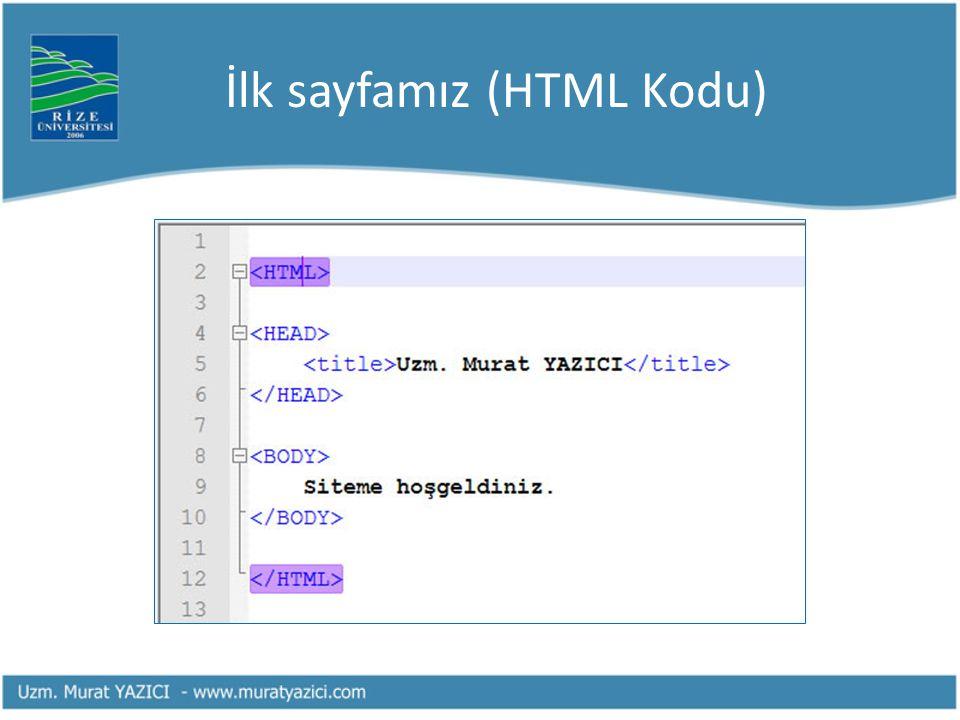 İlk sayfamız (HTML Kodu)