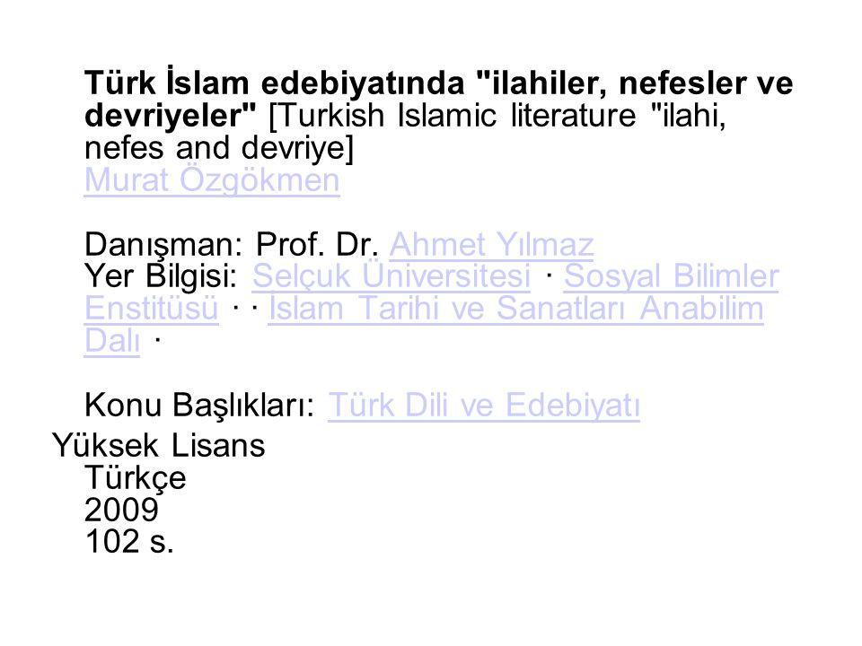 Türk İslam edebiyatında