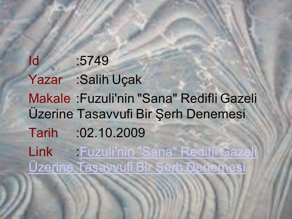 Id:5749 Yazar:Salih Uçak Makale:Fuzuli'nin