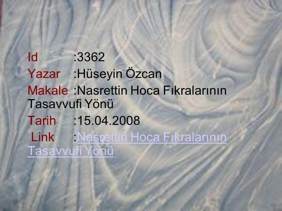 Id:3362 Yazar:Hüseyin Özcan Makale:Nasrettin Hoca Fıkralarının Tasavvufi Yönü Tarih:15.04.2008 Link:Nasrettin Hoca Fıkralarının Tasavvufi Yönü Nasrett